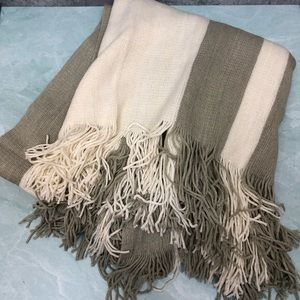 West Elm 44x56 inch throw in cream and gray stripe